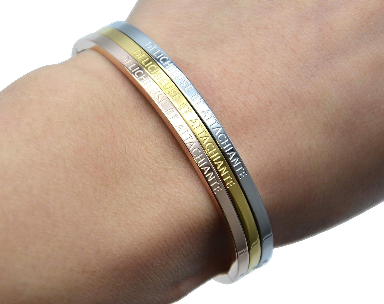 BC2820F Bracelet Jonc Fin Acier Or Rose avec Message Délichieuse et Attachi...