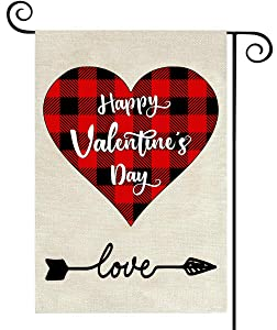 KMUYSL Valentine Garden Flags - 18 x 12.5 Inch Double Sided Buffalo Plaid Red Love Heart Valentine Flags Yard Outdoor Decorations Burlap Banner Decorative Garden Sign