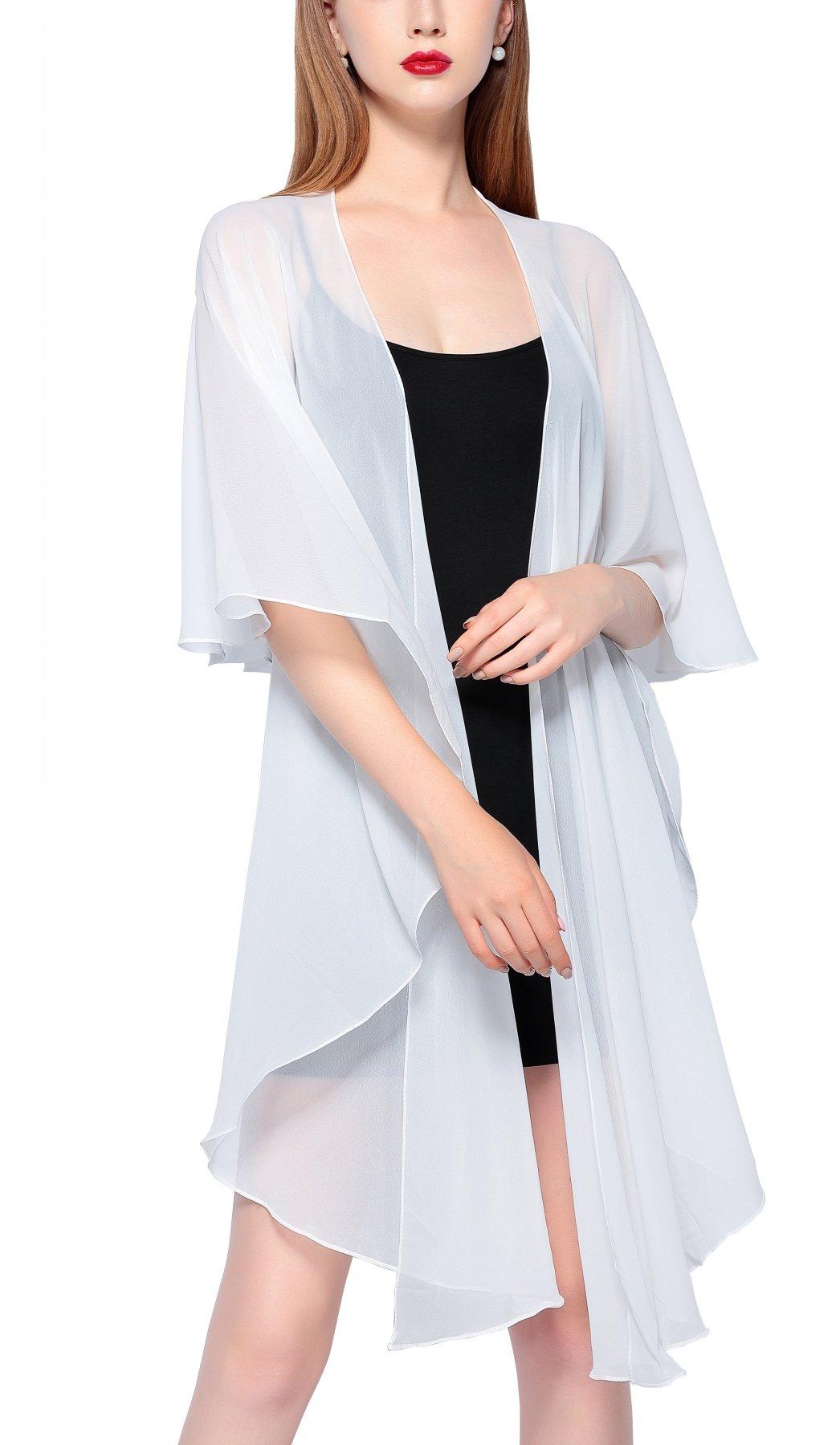 Chic Queen Women's Sheer Chiffon Bolero Shrug Jacket Cardigan Long Sleeve (L, Style-2 Ivory)