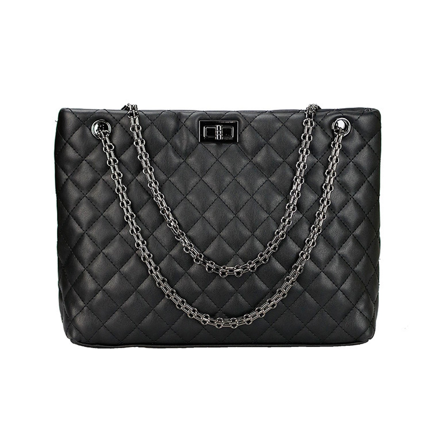 dbe3e77dff29 Amazon.com  Quilted Handbags for Women Metal Chain Strap Purse Shoulder Bags  (Medium