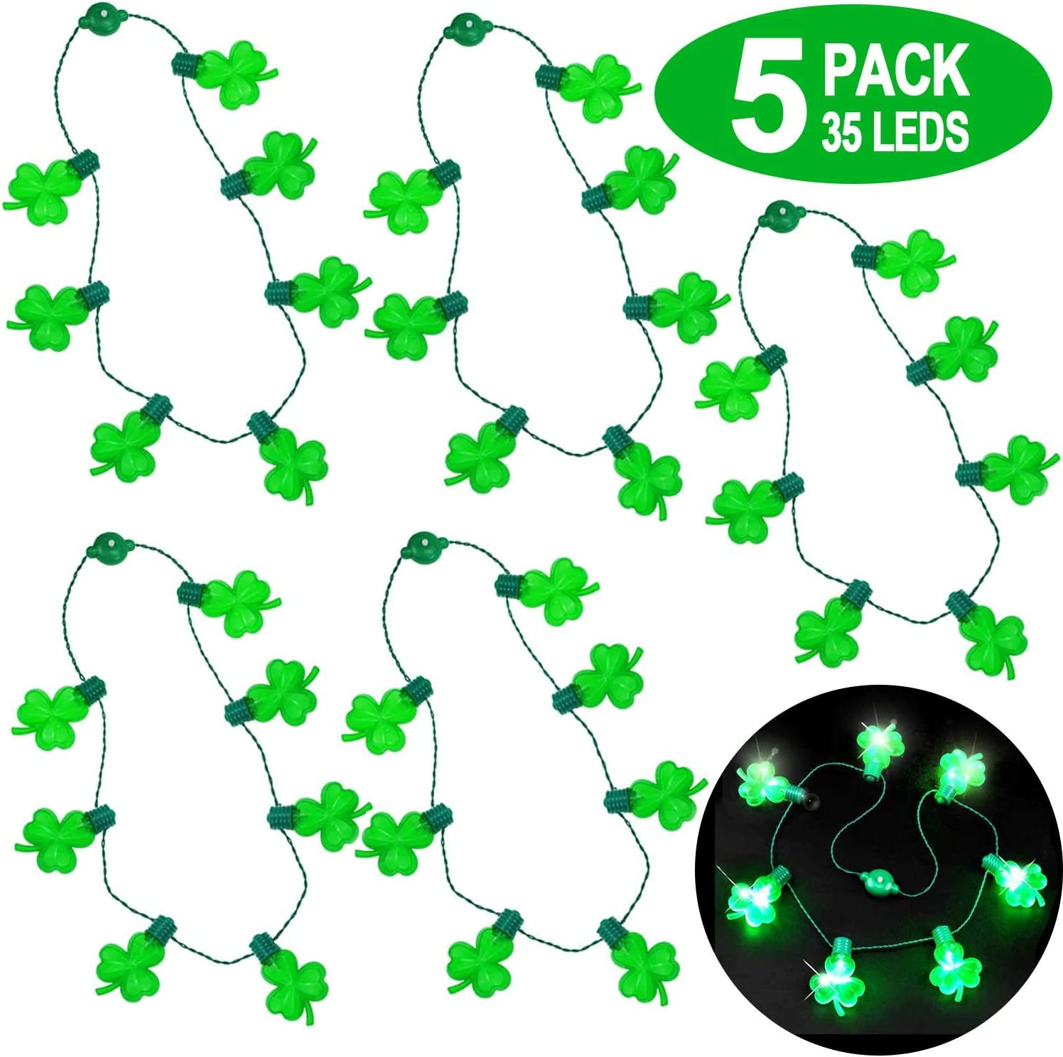 Patricks Day Accessories LED Green Shamrocks Necklaces Mardi Gras St iGeeKid 5 Pack St Patricks Day Party Favors for Men Women Kids Patricks Day Light Up Necklace St