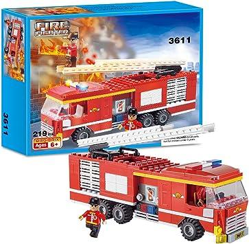 Brick Story - Juego de vehículos de policía y camión de Bomberos para niños, Bloques de construcción,, Juguetes de construcción, camión, camión de Bomberos, 219 Piezas - 3611: Amazon.es: Juguetes y juegos