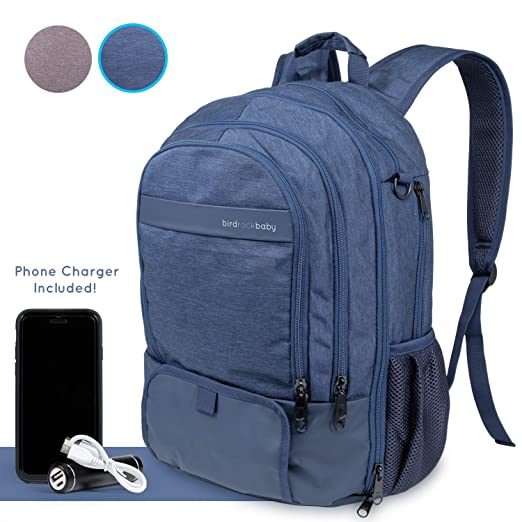 BirdRock Baby Diaper Bag Backpack - New and Improved Version 2 with 16 Pockets, Changing Pad, Phone Charger, Stroller Straps, Insulated Bottle Pocket and More (Blue)