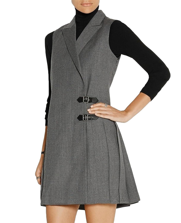 MFrannie Womens Tweed Notched Lapels Two Buckle Longline Autumn Suit Vest