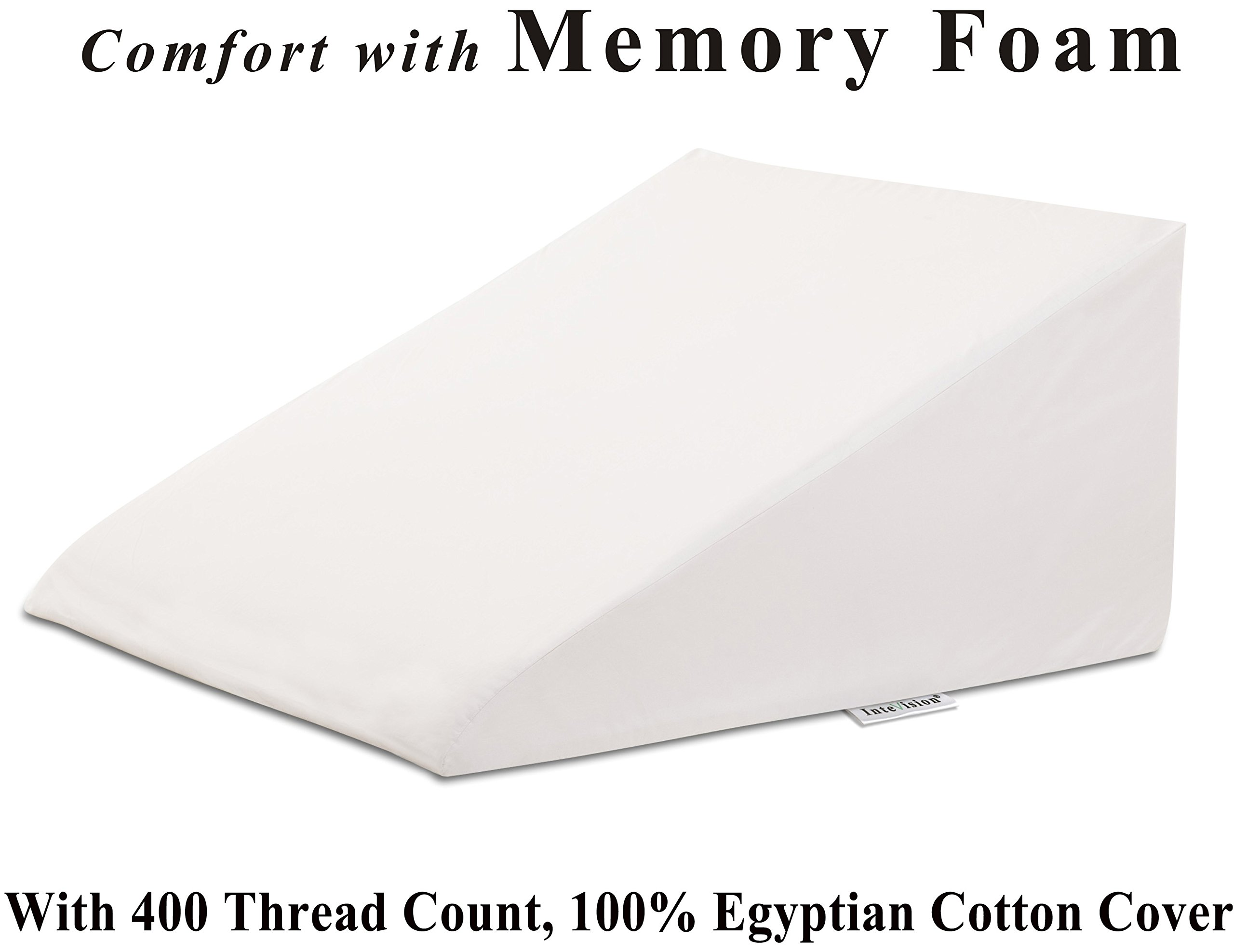 InteVision Extra-Large Foam Wedge Bed Pillow (33'' x 30.5'' x 12''. Color: White) with High Quality, 400 Thread Count, 100% Egyptian Cotton Cover