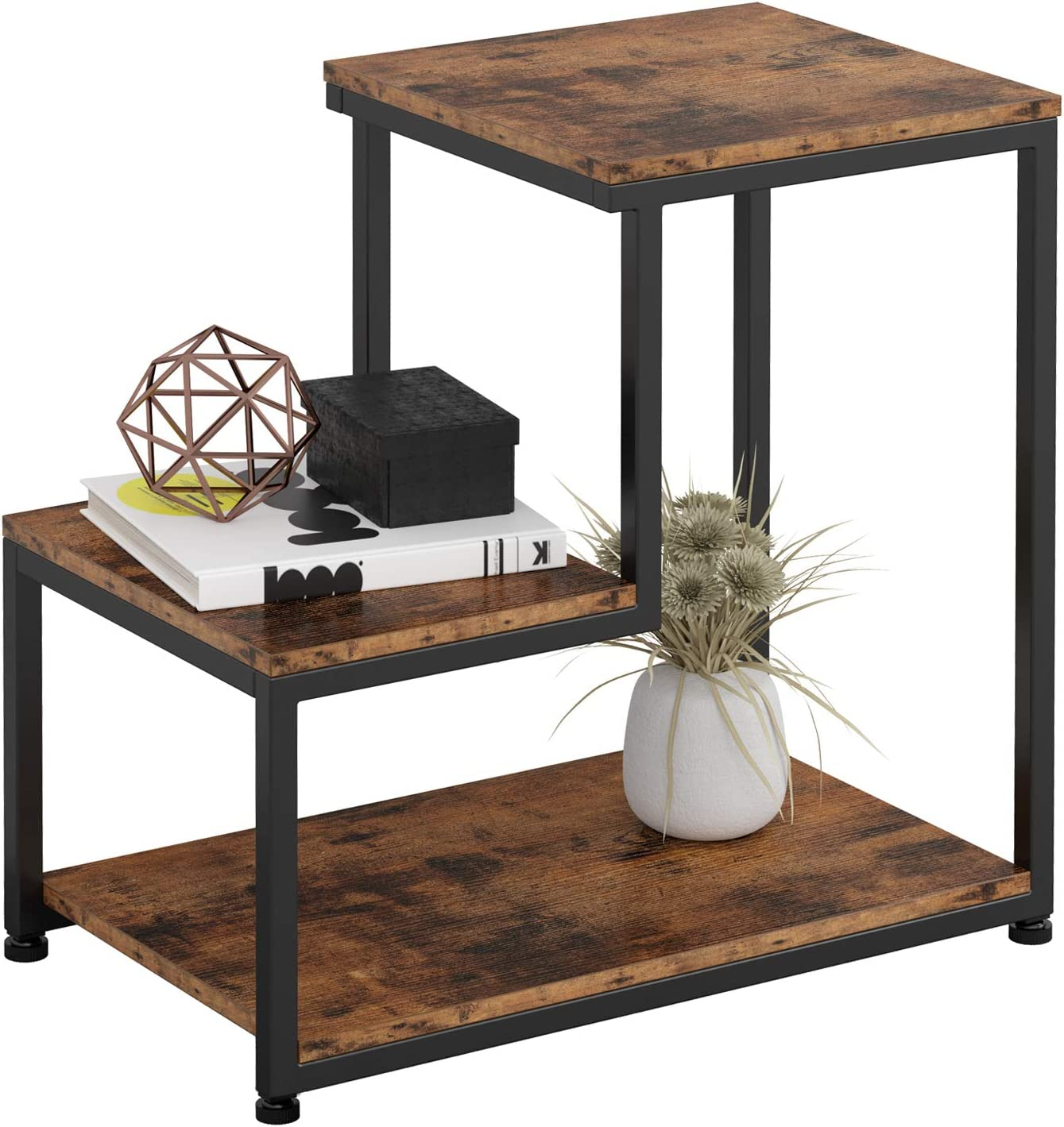Amazon Com Ironck Industrial Side Tables Living Room 3 Tier End Tables Nightstand With Storage Sturdy Easy Assembly Vintage Brown Kitchen Dining