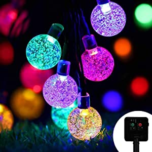Solar Garden Fairy String Light, 80 LED Upgrade Solar Panels Outdoor Crystal Sphere Copper Wire Light, 8 Modes Waterproof Ball Light, Decoration Light for Tent Courtyard Christmas Party(Colorful)