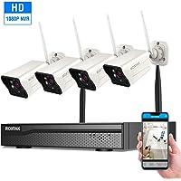 ROXTAK Système de Sécurité sans Fil,Kits de WiFi Vidéosurveillance,4CH 1080p Caméras CCTV Hydrofuge et Infrarouge,Vision Nocture,Intérieux/Extérieur,Intérer & Activer,Accès à Distance