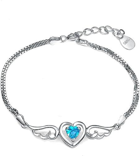 Argent 925/1000 - Amour Coeur Bracelet ailes d'ange femme avec cristaux de  Swarovski bleu - Le cadeau romantique parfait