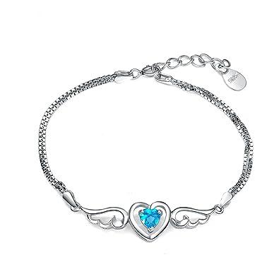 Argent 925/1000 , Amour Coeur Bracelet ailes d\u0027ange femme avec cristaux de