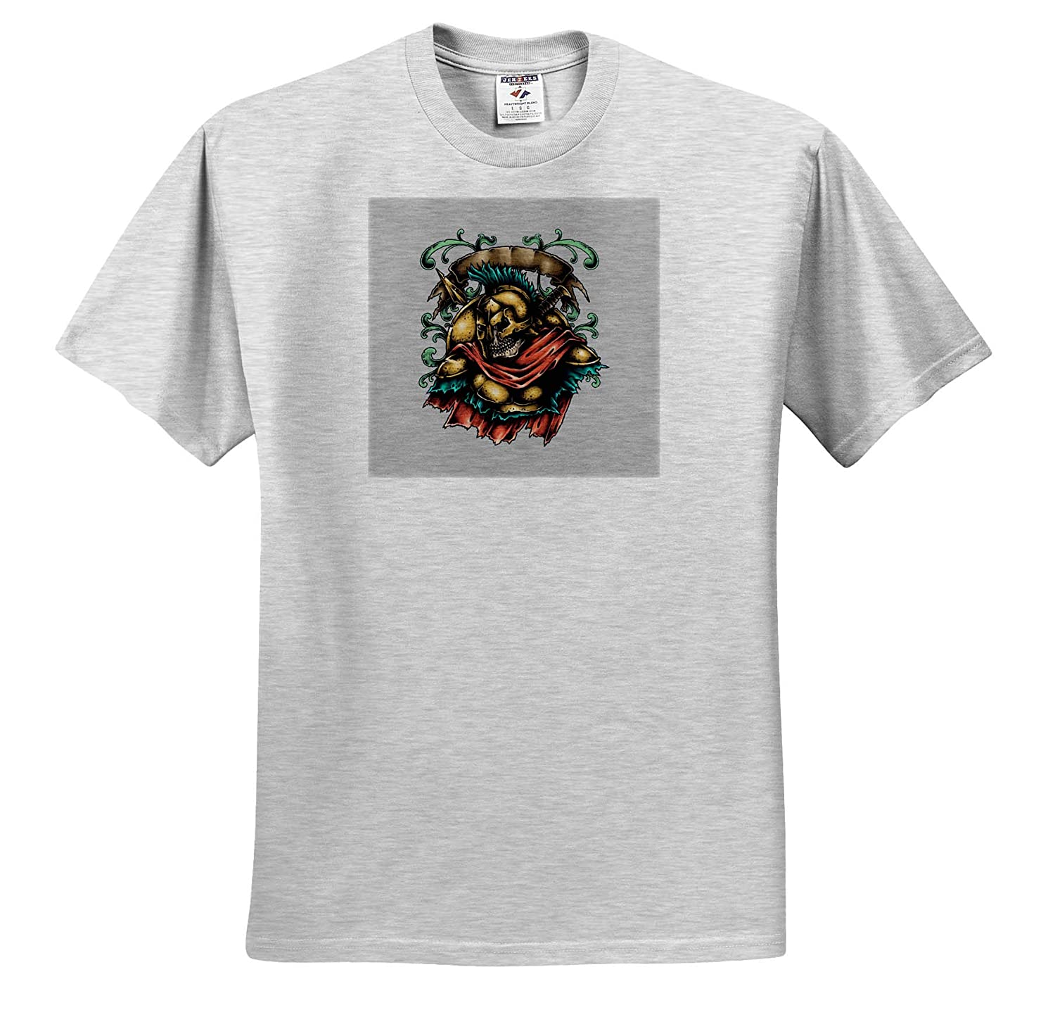 T-Shirts Skull Colorful Image of Skull and Ancient Greek Armor 3dRose Alexis Design
