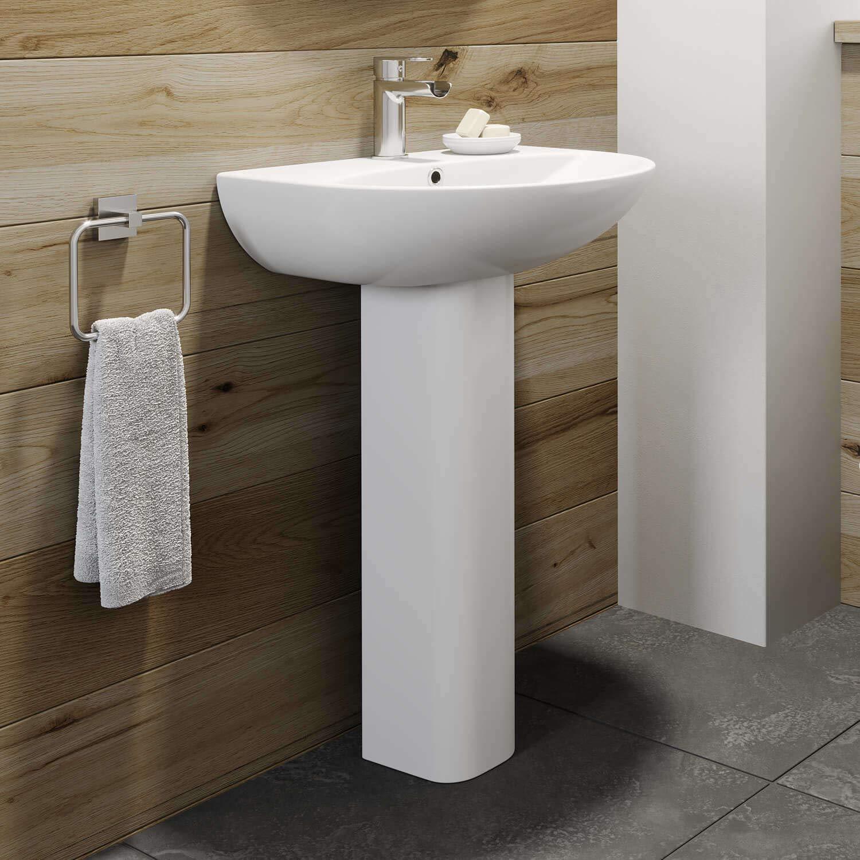 Gloss White Finish Modern Bathroom Renoir Ceramic 450mm 1TH Basin Sink with Semi Pedestal