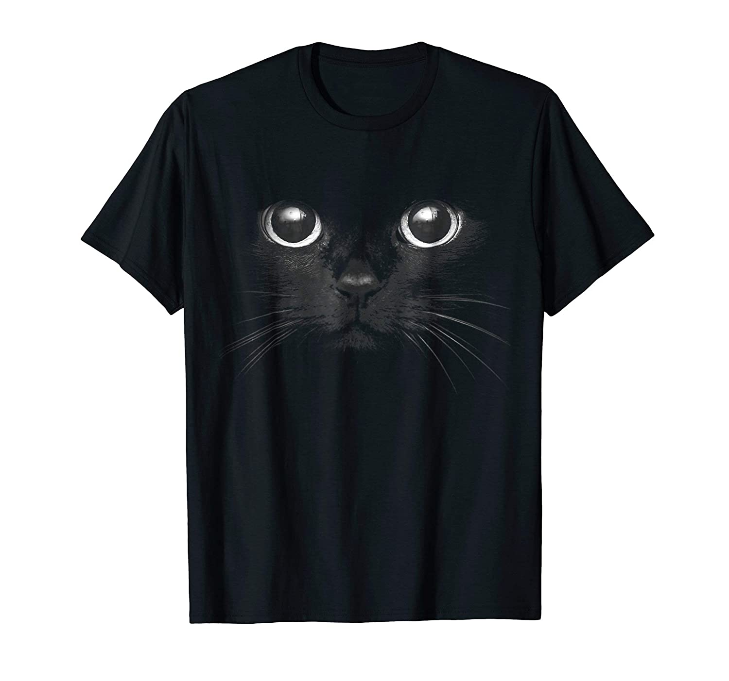 3D Black Cat Face Graphic T-Shirt Halloween Gift Cat Lovers-Rose