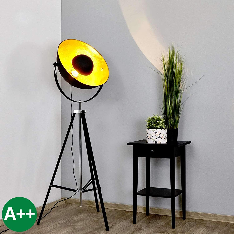 Lindby Dreibein Stehlampe Mineva Modern In Schwarz Aus Metall