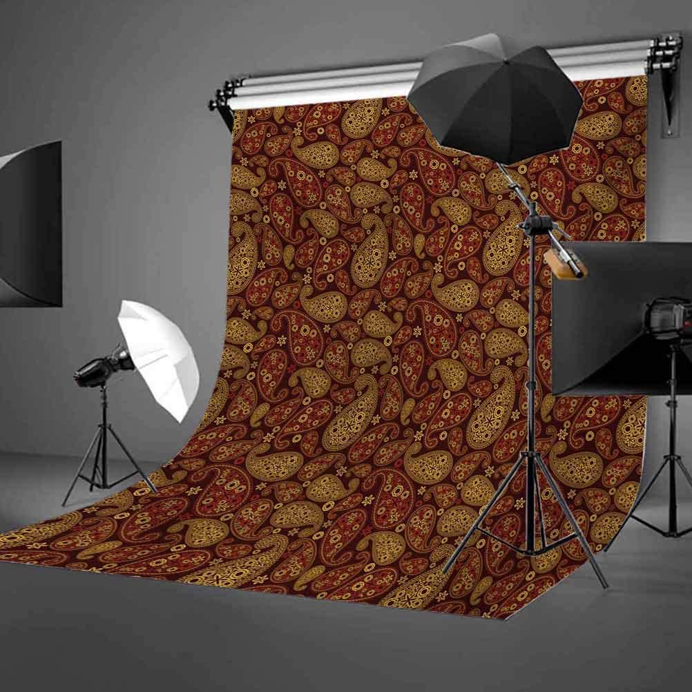 Paisley 6.5x10 FT Photography Backdrop Oriental Damask Leaves Middle Age Ottoman Art Inspired Boho Design Background for Photography Kids Adult Photo Booth Video Shoot Vinyl Studio Props