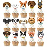 KUDES 32Pcs Dog Cupcake Toppers - Cute Puppy Faces Cake Topper Picks Party Bunting Decorations for Dog Puppy Theme Kids Birth