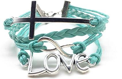 Plaited Leather Bracelet Love Birds Heart Pendant Gift