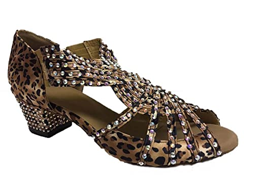 82305e188 Leopard Print Shoe - Satin and Aurora Stones with Suede Sole, Open Toe Dance  Shoes for Line, Latin, Ballroom, Jive, Ceroc, Salsa & Tango UK 3-8 (300108)
