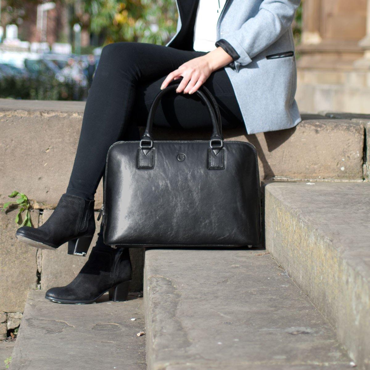 Maxwell Scott Luxury Ladies Black Leather Work Bag Purse for Macbook (Fiorella) by Maxwell Scott Bags (Image #8)