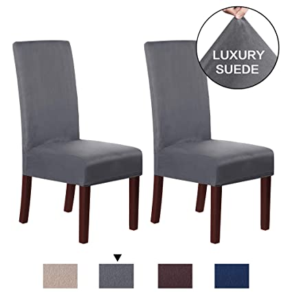Fabulous H Versailtex Dining Chair Covers Set Of 2 Super Fit Stretch Removable Washable Velvet Plush Suede Fabric High Chairs Protector Cover Seat Slipcover Camellatalisay Diy Chair Ideas Camellatalisaycom