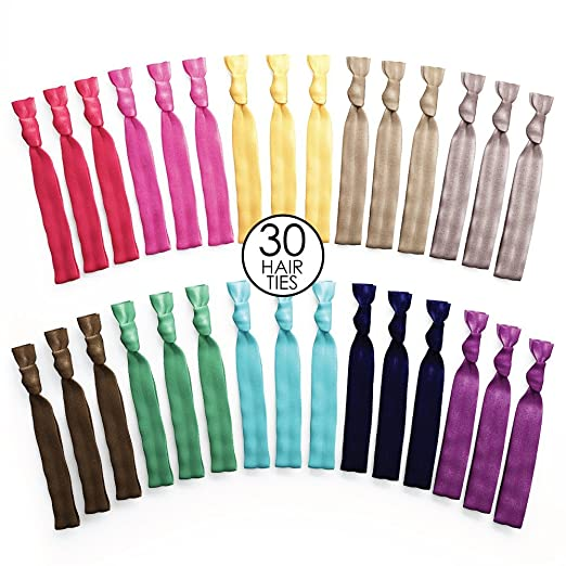 Ribbon Hair Ties No Tangle No Crease Rainbow Color 30 Pack
