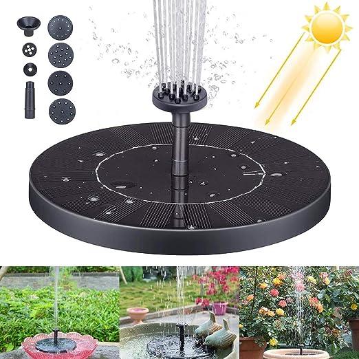 Solar Fuente Bomba, Fuente Solar, Bomba de Agua Solar, Bomba de Estanque Solar con Fuente para Fuente, Piscina, jardín, Estanque, decoración de jardín: Amazon.es: Jardín