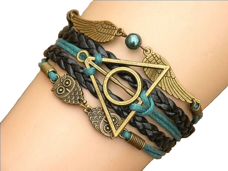 Joyplancraft Multistrand Bracelet Owl Wings Bracelet, Teal Bead Bracelet, Gift for Girl Friend or Boyfriend JPC1511261548