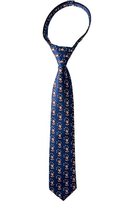 Spring Notion Boys Printed Microfiber Christmas Theme Pretied Zipper Tie CLN725-SNS.725