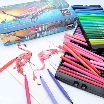 Pinselstifte Set 100 Farben Marker Set Aquarell Kalligraphie Doppelspitze NEU