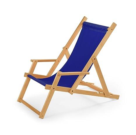 Sdraio Per La Spiaggia.Sedia A Sdraio In Legno Con Braccioli Da Giardino O Da Spiaggia