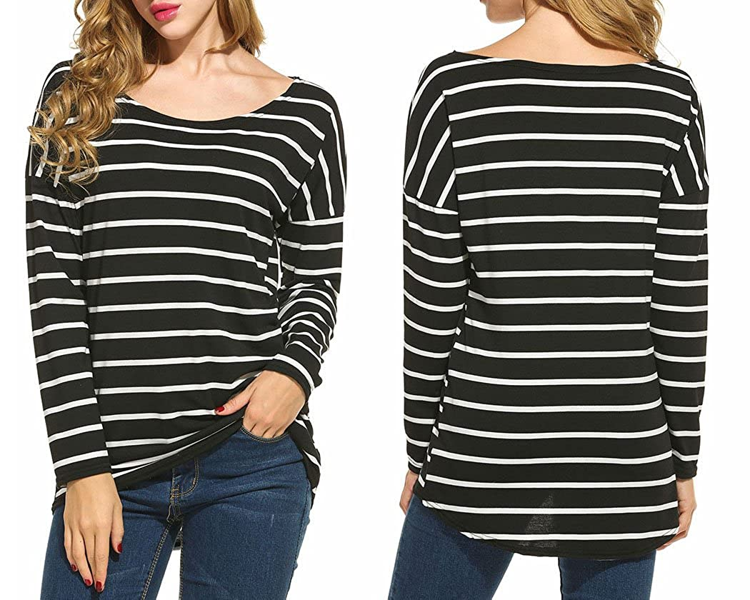 e05abfd17220 Amazon.com  Women s Black and White Stripes Long Sleeve T-Shirt Tops   Clothing