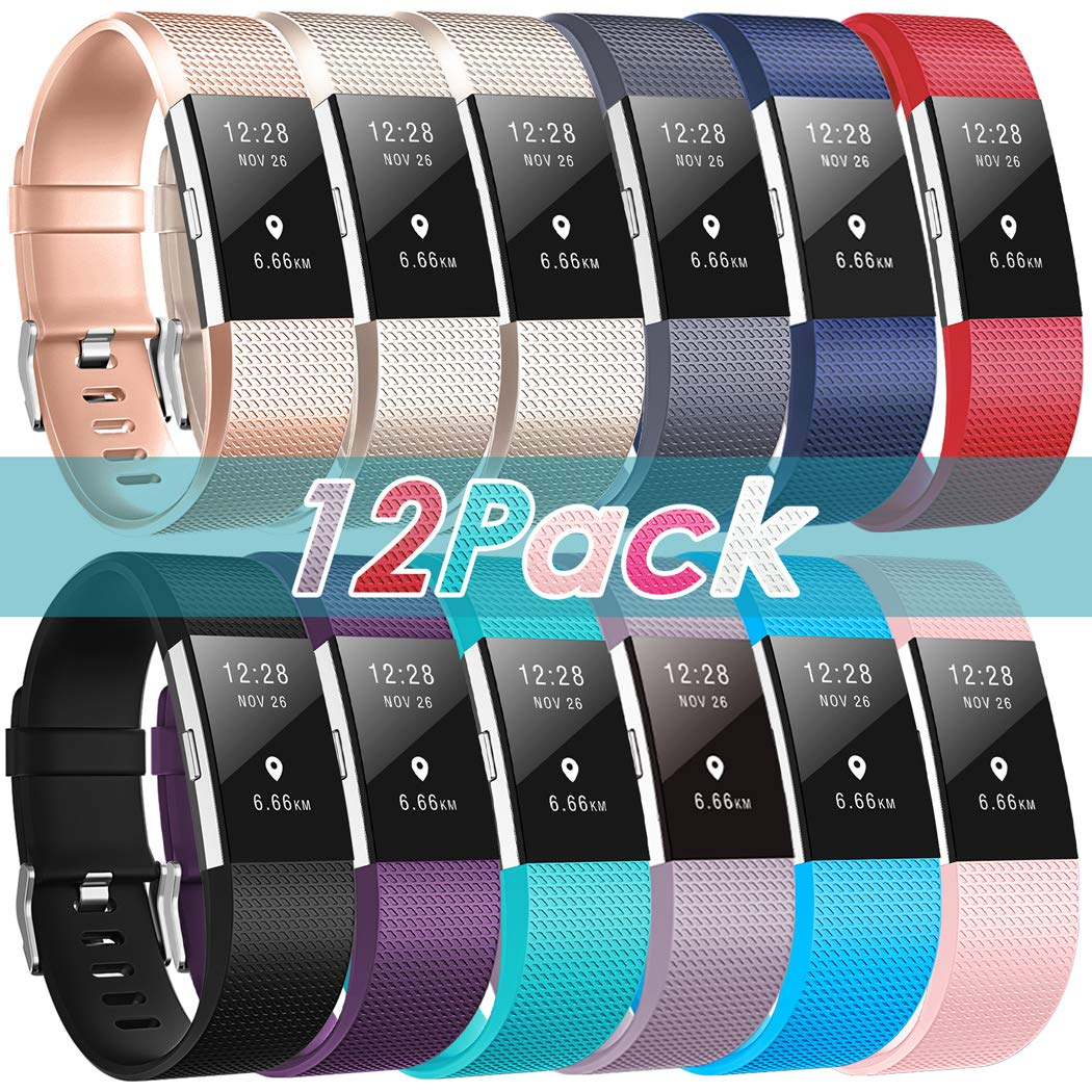 ZEROFIRE Bands Compatible for Fitbit Charge 2, Replacement Adjustable Sport Bands for Charge 2 Heart Rate Fitness Wristbands, Women Men - 12 Pack by ZEROFIRE