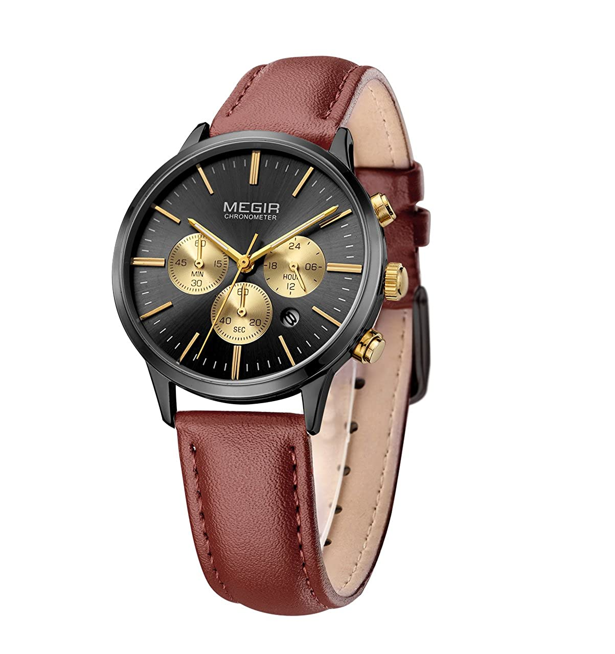 e06be38aa25 Megir Chronograph Date Indicator Brown Leather Strap Quartz Wrist Watch for Women  Ladies Fashion Gold Rose Wristwatch (BLACK)  Amazon.co.uk  Watches
