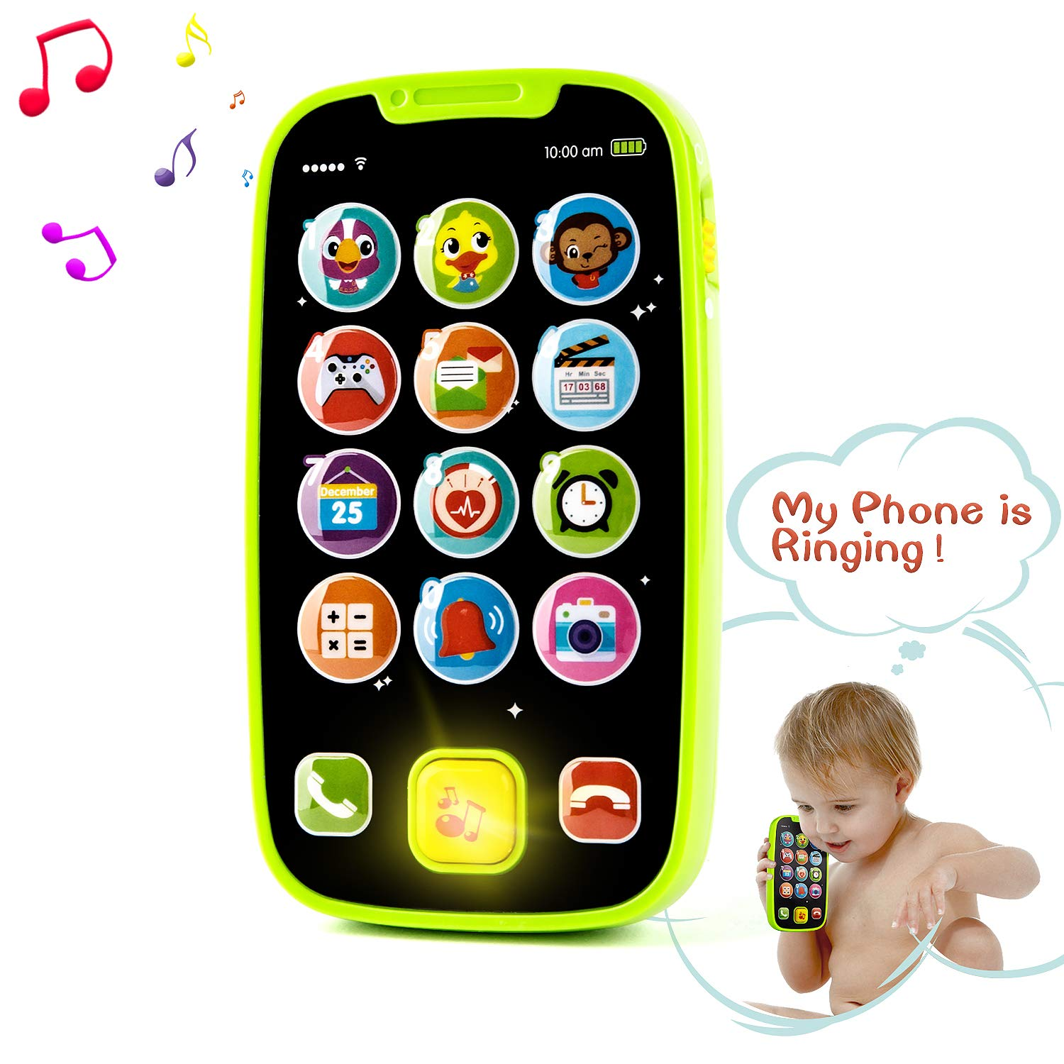 HISTOYE Baby Phone Toys for 1 + Year Old , Sing and Count Toy Cell Phone for Toddlers, Role Play Baby Phone for Early Learning Educational Gifts by HISTOYE
