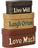 Your Hearts Delight 8 by 3-1/2-Inch Live Laugh Love Nesting Boxes, Large