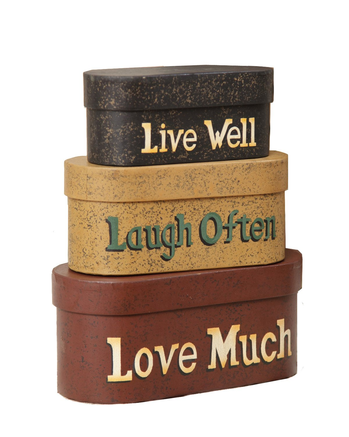 Your Heart's Delight 8 by 3-1/2-Inch Live Laugh Love Nesting Boxes, Large