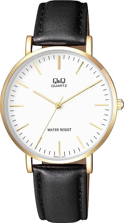 buy popular 0450b 22de2 [シチズン キューアンドキュー]CITIZEN Q&Q 腕時計 スタンダード 革ベルト 逆輸入 海外モデル ブラック Q978J111Y メンズ