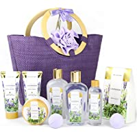 Spa Luxetique Gift Baskets for Women, Spa Gifts for Women - 10pcs Lavender Bath and Body Gift Set with Bath Bomb, Body…