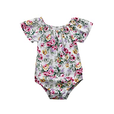 3fe2f9f2f7ff Yamally Newborn Baby Girls Floral Print Backless Romper Infant Kids  Jumpsuit Outfit Playsuit Clothes (0