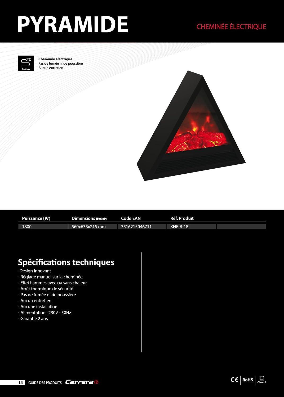 Cayenne 47060 Chemin/ée /électrique pyramide 1800W Blanc