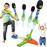 Toy Rocket Launcher for Kids - 4 Colorful Rocket Toy with Whistle Rockets and Adjustable Angle Sturdy Launcher Stand with Foo