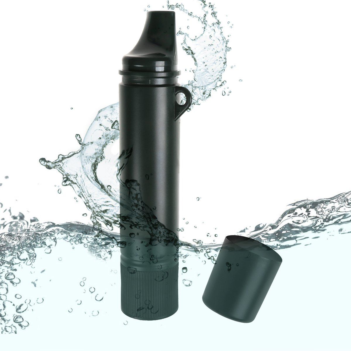 Ideapro Portable Water Filter, 1500L Personal Water Filtration Bottle Straw Water Purifier Field Survival Gear for Hiking, Camping, Traveling, Disaster Preparedness