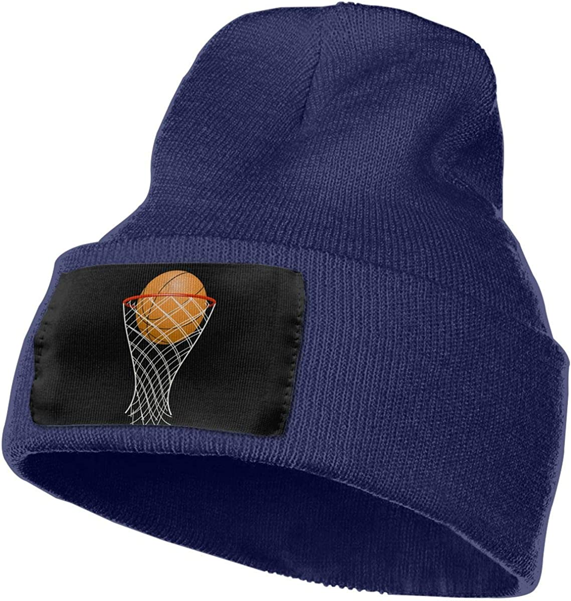 SLADDD1 Basketball and Hoop Warm Winter Hat Knit Beanie Skull Cap Cuff Beanie Hat Winter Hats for Men /& Women