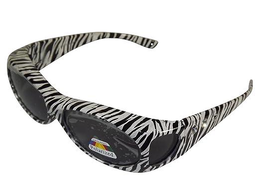 Sonnen-Überbrille Zebra mit Strass UV400 Polarisiert f. Brillenträger Polbrille 58GM2mMO