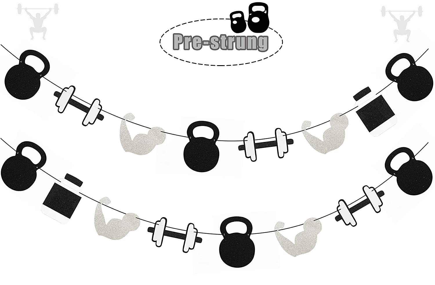 Fitness Themed Birthday Party Supplies Weight Lifting Party Garland for Cross Fit Party Glitter Gym Theme Birthday Banner