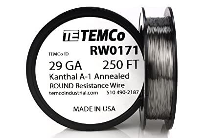 TEMCo Kanthal A1 wire 29 Gauge 250 Ft Resistance AWG A-1 ga