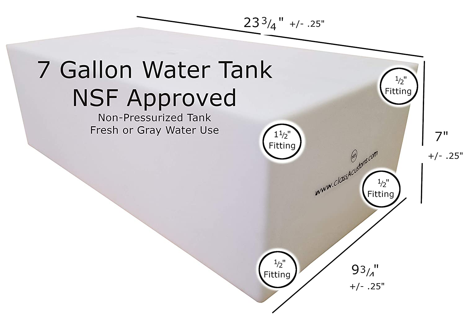 Class A Customs 7 Gallon Fresh Water Holding Tank NSF//FDA Approved BPA Free with Basic Plumbing Kit and WFCO 12 Volt Pump rv Concession Trailer T-500-BPK-12WFCO