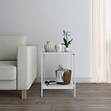 Lifewit Small 2-Tier Side Table End Table Beside Sofa, Sturdy and Easy Assembly Accent Table for Bedroom, Living Room, Modern Design, Square, White, 15.7 × 15.7 × 20 inches