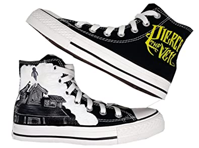 f758bff244 Pierce The Veil Canvas Shoes High Top Casual Canvas Painted Fashion Sneaker  For Women Men (