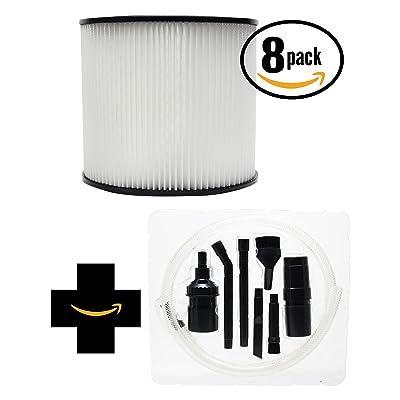 8-Pack de remplacement Shop-Vac matériel Store Wet/Dry Vac 965–09–00Aspirateur Filtre à cartouche avec 7pièces Micro sous vide kit de fixation–Compatible Shop-Vac